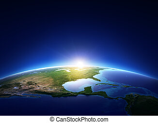 nord, sur, sans nuages, la terre, amérique, levers de soleil
