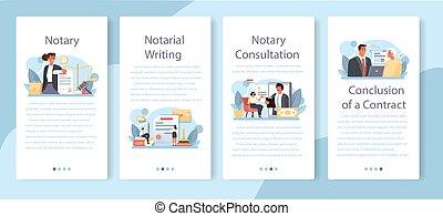 notary, professionnel, mobile, signer, bannière, service, set., application, avocat