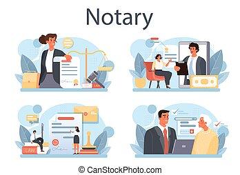 notary, professionnel, service, concept, avocat, legalizing, set., signer