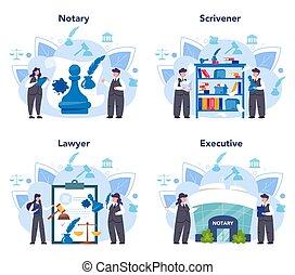 notary, signer, legalizing, set., service, professionnel, concept, avocat
