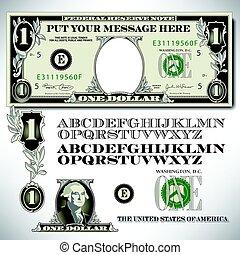 note, alphabet, dollar, parties, une
