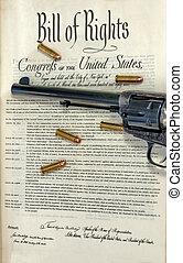 note, balles, revolver, droits