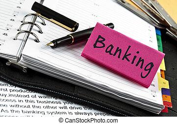 note, banque, stylo, ordre du jour