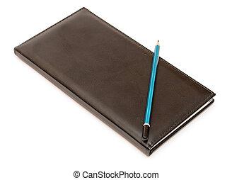 note, crayon, blanc, livre, fond