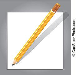 note, crayon, blanc, papier