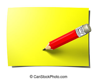 note, crayon, crosse, jaune