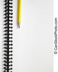 note, crayon, livre, jaune