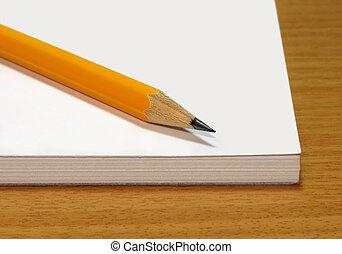 note, crayon, tampon, jaune