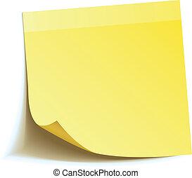note, crosse, jaune