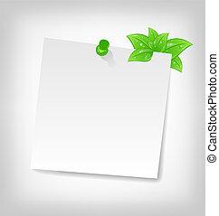 note, espace, feuilles, tex, papier, vert, vide, ton