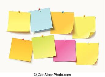note, frisé, poussée, papiers, coloré, feuilles, épingle, coin