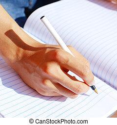 note, girl, livre, écriture
