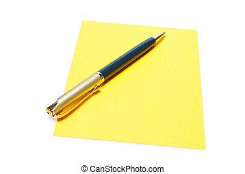 note, stylo, jaune