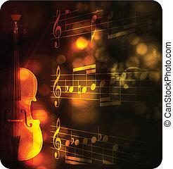 note, vendange, silhouette, violon