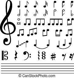 notes, blanc, musique, isolé, fond