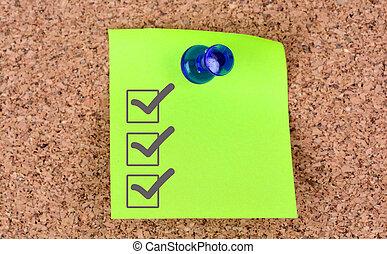 notes, chèque, vide, marque