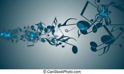 notes., coloré, résumé, musique, fond, animé
