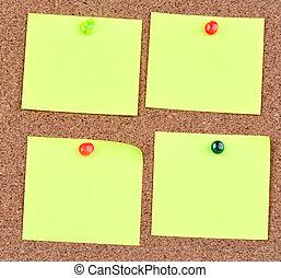 notes, corkboard, vide