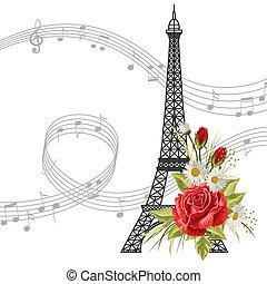 notes, fleurs, musique, fond, tour, isolé, blanc, eiffel