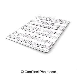 notes, fond blanc, 3d