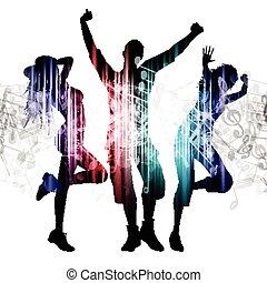 notes, gens, musique, fond, danse