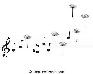 notes, graines, musique, pissenlit