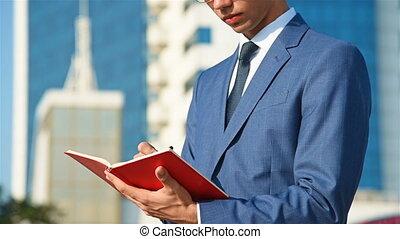 notes, homme affaires, agenda, marques