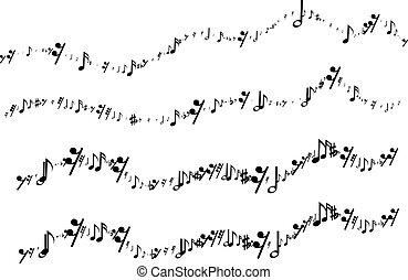 notes, ligne onduleuse, formulaire, musical