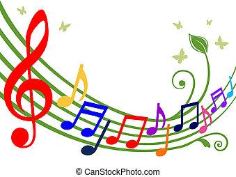 notes, musical, coloré