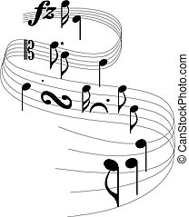 notes, musical, fond, personnel