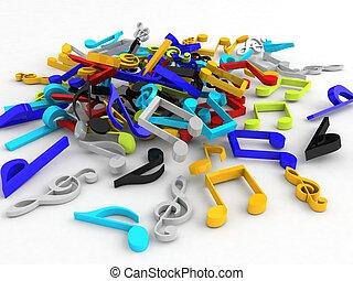 notes, musical, tas