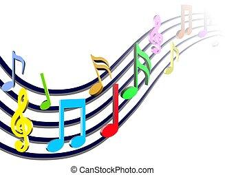 notes, musique, coloré