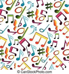 notes, musique, isolé, icône