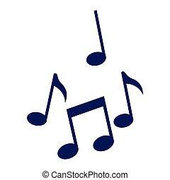 notes, musique, isolé, icônes