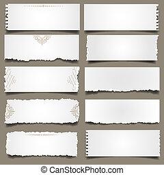notes papier, dix