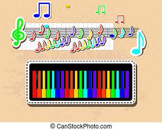 notes, piano, set., musical