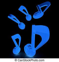 notes., render., jaune, arrière-plan., noir, musique, 3d