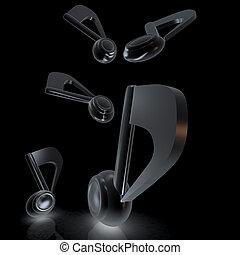 notes., render., métallique, arrière-plan., noir, musique, blanc, 3d