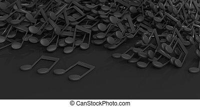 notes, rendre, arrière-plan noir, musique, 3d