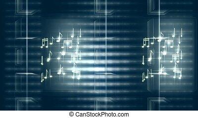 notes, rotation, musical