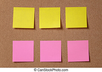 notes, six, collant, planche, rappel, bouchon