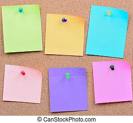 notes, six, coloré, vide