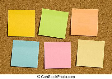 notes, six, corkboard, poteau-il