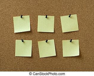 notes, six, jaune, bouchon, goupillé, fond