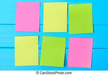 notes, six, vide, coloré