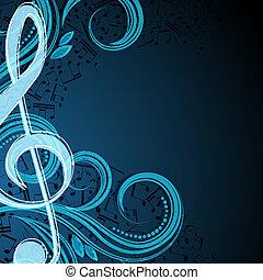 notes, vecteur, musical, fond