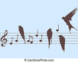 notes, vecteur, musique, oiseaux