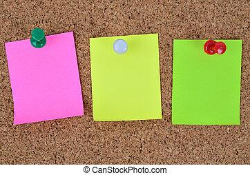 notes, vide, trois, coloré