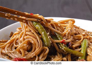 nouille, nourriture, végétarien, yakisoba, -, vegan, frit, légume