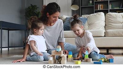 nounou, plancher, heureux, gosses, jouer, maison, mère